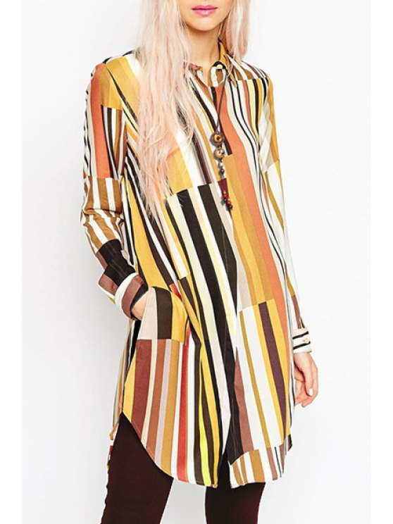 shops Colored Stripes Long Sleeve Shirt - COLORFUL S