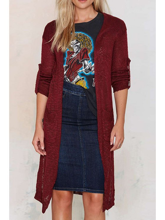 women's Solid Color Pockets Long Rolled Cuff Sleeves Cardigan - WINE RED S