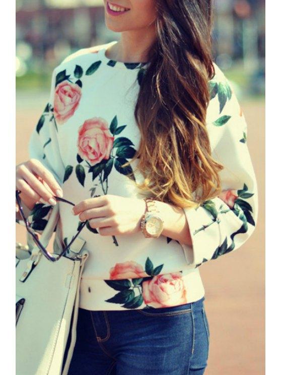 ladies Round Neck Flower Print Sweatshirt - WHITE S
