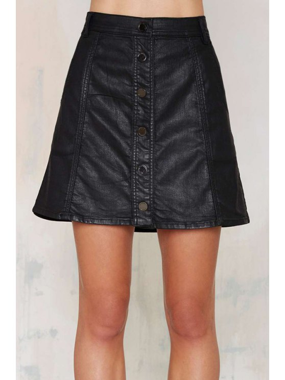 womens High Waisted Solid Color PU Leather Skirt - BLACK XS