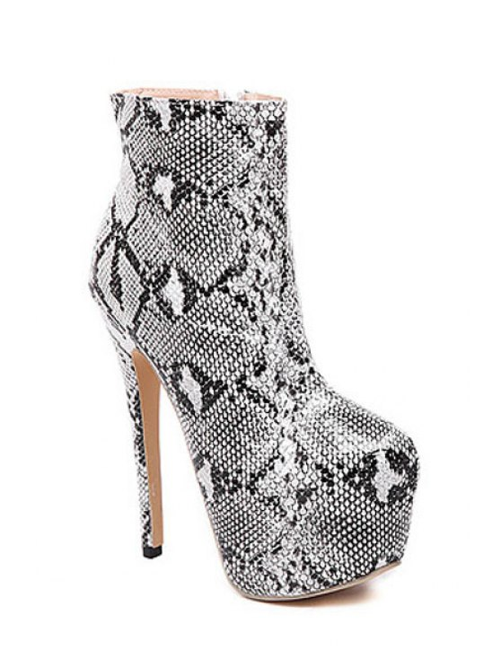outfits Snake Print Zipper Platform High Heel Boots - WHITE 35