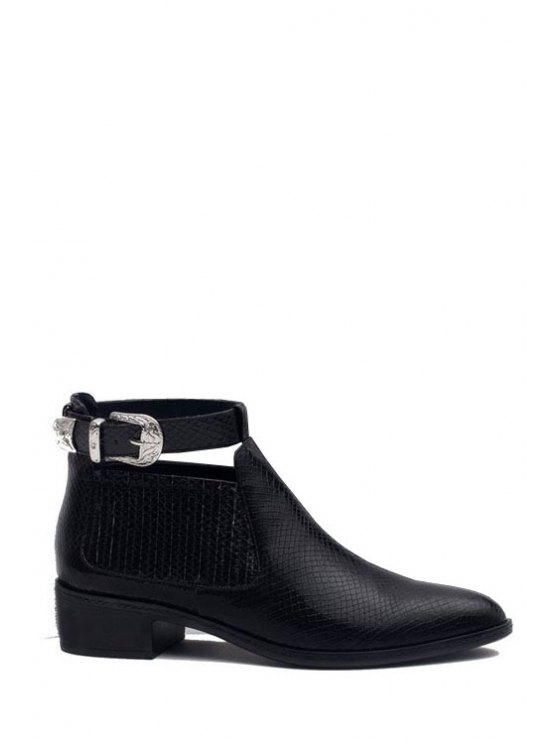 womens Snake Print Buckle Black Ankle Boots - BLACK 35