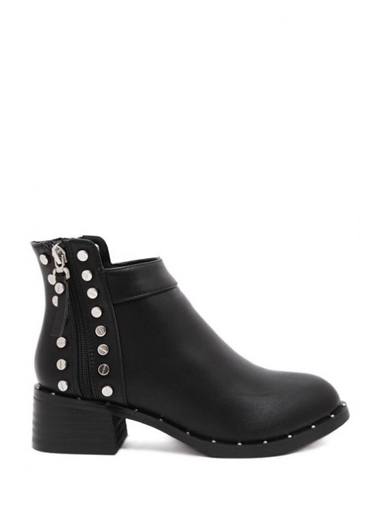 best Rivets Metal Zipper Ankle Boots - BLACK 35