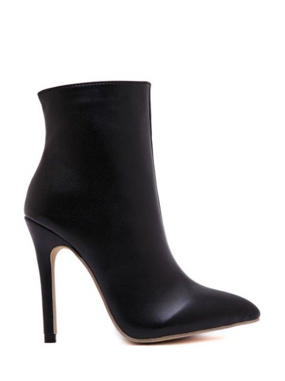 fashion Black Zipper Pointed Toe High Heel Boots - BLACK 35