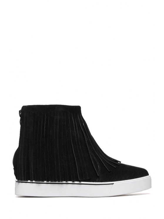 hot Pure Color Platform Fringe Ankle Boots - BLACK 35