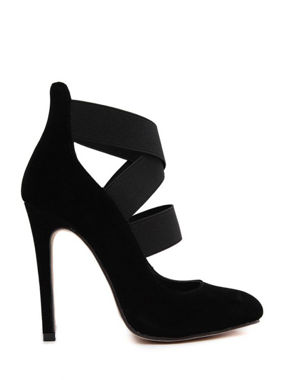 new Cross Straps Suede Black High Heel Pumps - BLACK 35