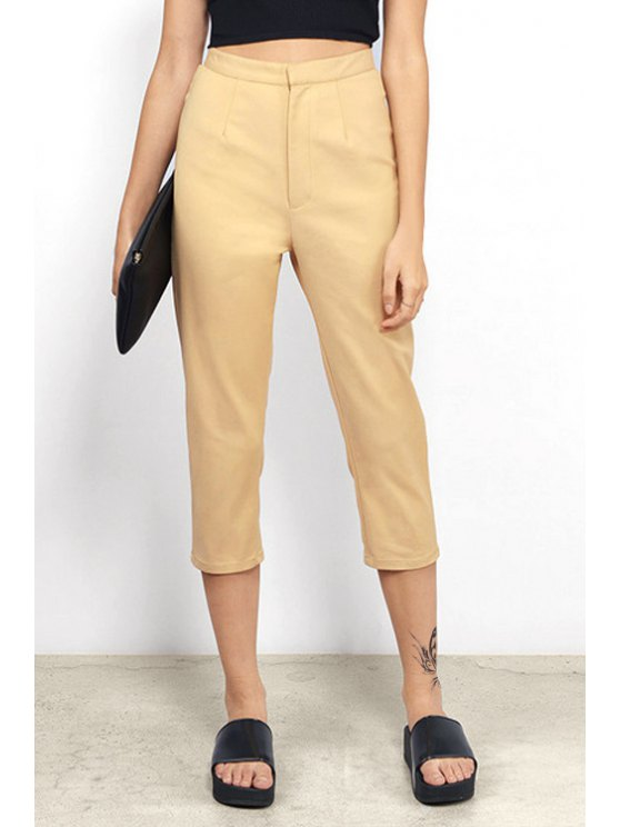 womens Solid Color High-Wisted Adjustable Belt Capri Pants - KHAKI XS