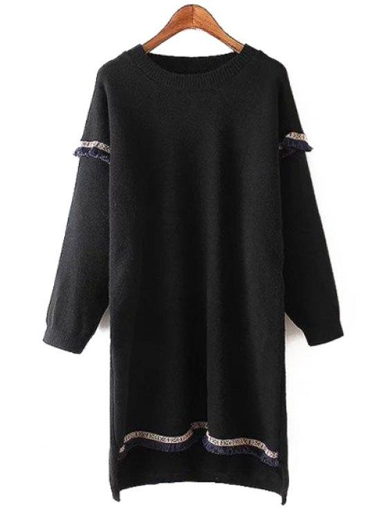 lady Round Neck Fringed Sweater Dress - BLACK ONE SIZE(FIT SIZE XS TO M)