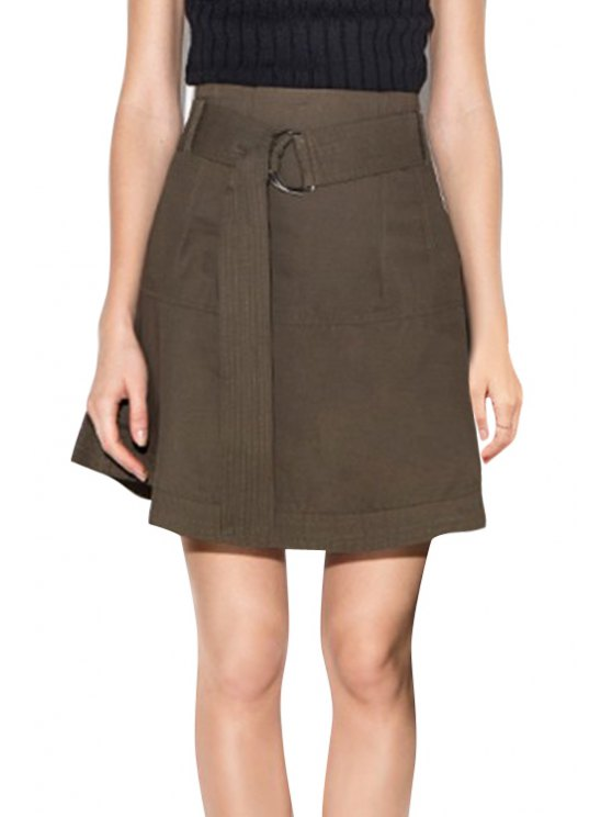 affordable Solid Color High-Wisted Belt Women's Skirt - DUN 2XL
