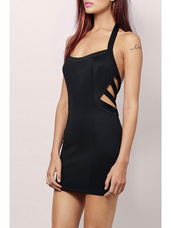 hot Black Halter Open Back Dress - BLACK S
