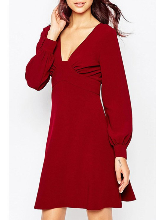 unique Plunging Neck Long Sleeve Backless A Line Dress - WINE RED S