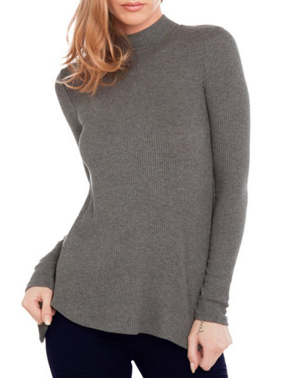 new Gray Stand Neck Long Sleeve T-Shirt - GRAY S