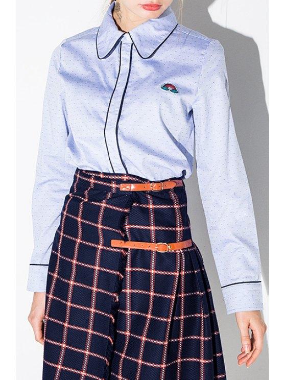 new Rainbow Embroidery Polka Dot Flat Collar Shirt - BLUE XS