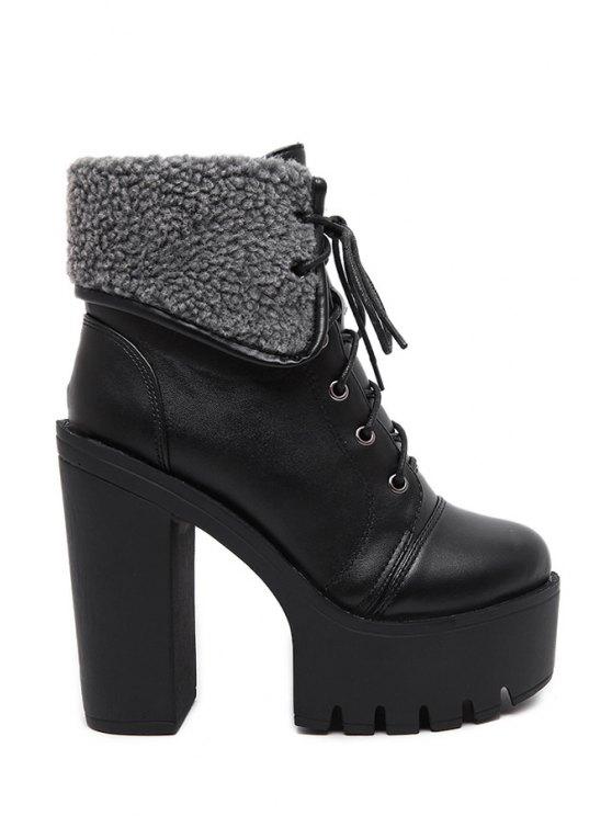 women Black Platform Lace-Up High Heel Boots - BLACK 35