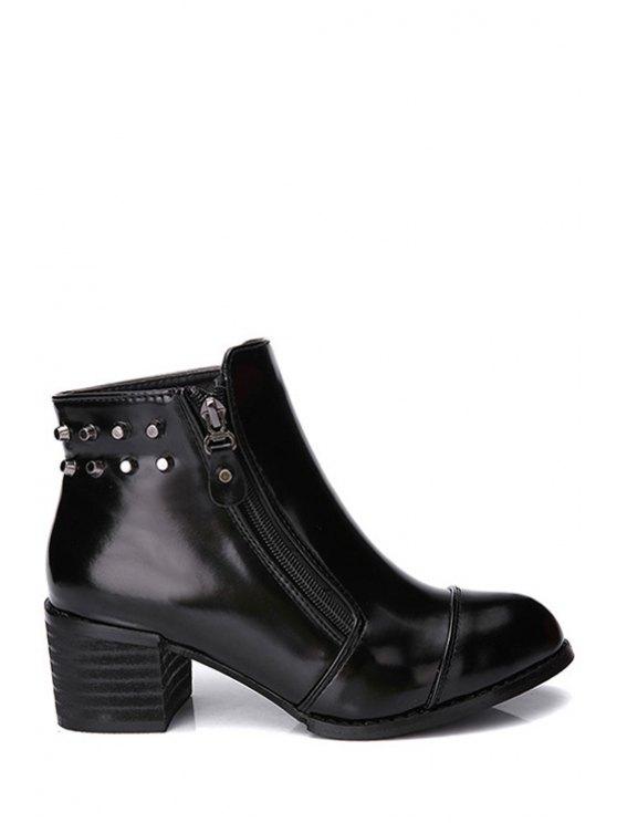 chic Black Zipper Metallic Rivets Short Boots - BLACK 34