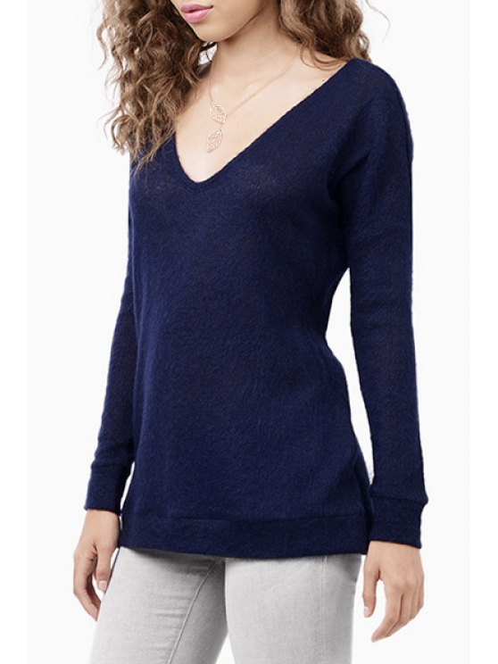 fashion Solid Color Back Cut Out Plunging Neck Sweater - BLUE XS