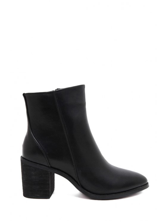 outfits Zipper Pointed Toe Black Ankle Boots - BLACK 35