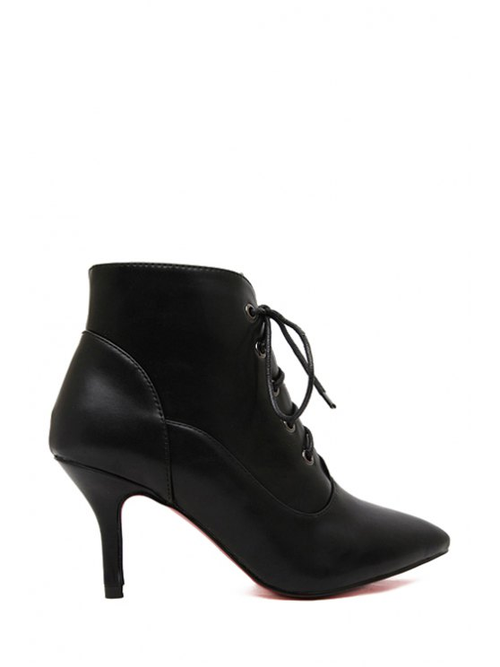 lady Black Stiletto Pointed Toe Ankle Boots - BLACK 35