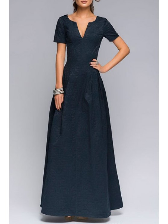 outfit Short Sleeve Fit and Flare Prom Dress - DEEP BLUE S