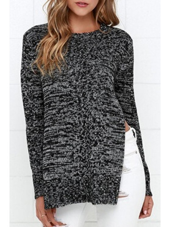 outfits Mixed Color Side Slit Sweater - BLACK ONE SIZE(FIT SIZE XS TO M)