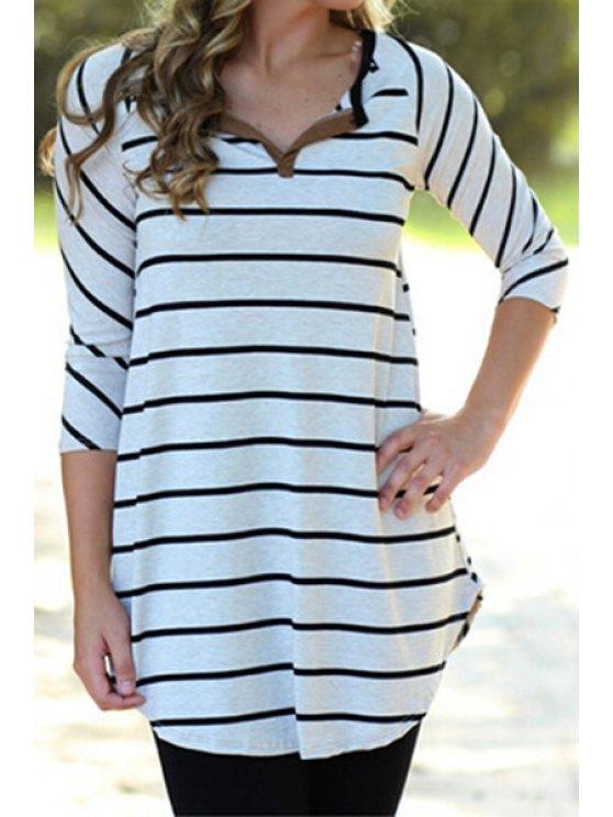 latest V-Neck 3/4 Sleeve Striped T-Shirt - WHITE S