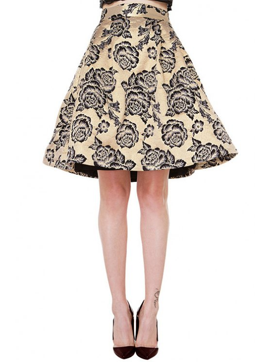 online Retro Floral Print High Waisted A-Line Skirt - CHAMPAGNE XS