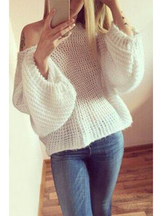 women White Scoop Neck Long Sleeves Jumper - WHITE ONE SIZE(FIT SIZE XS TO M)