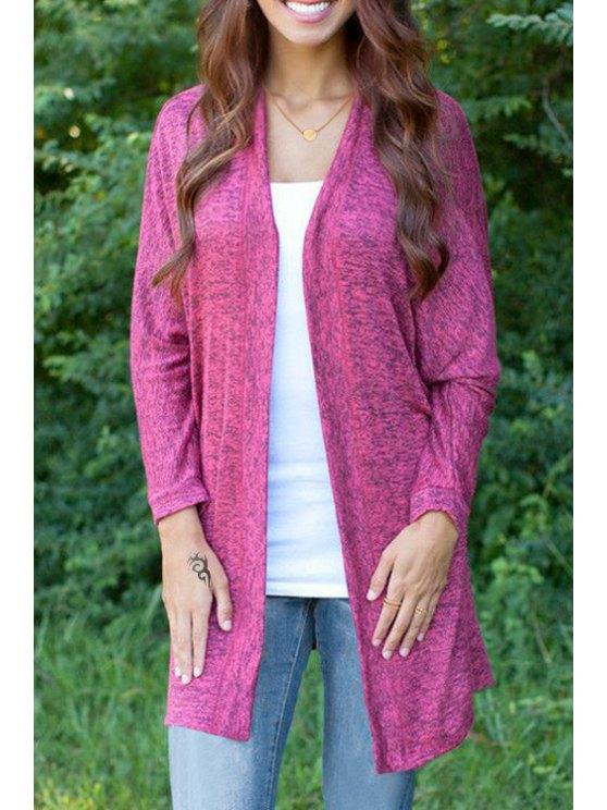 buy Purple V Neck Long Sleeve Long Coat - PURPLE S