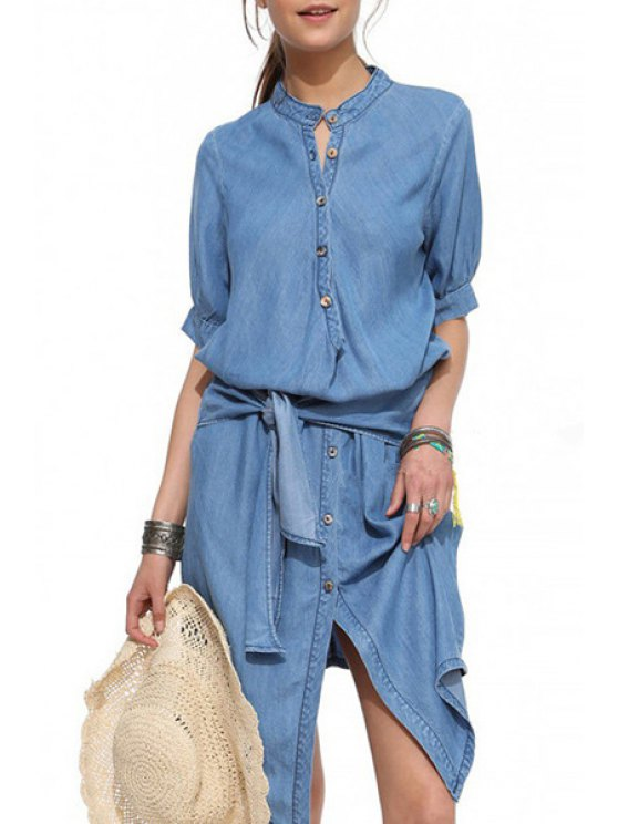 trendy Drawstring Denim Solid Color High-Low-Hem Dress - LIGHT BLUE S
