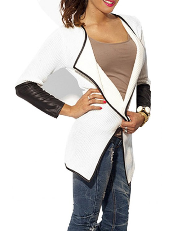 ladies Faux Leather Spliced Turn Down Neck Coat - WHITE S