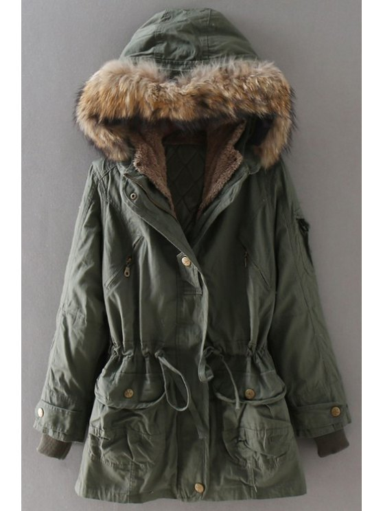 chic Drawstring Solid Color Hooded Neck Long Sleeves Parka Coat - ARMY GREEN M