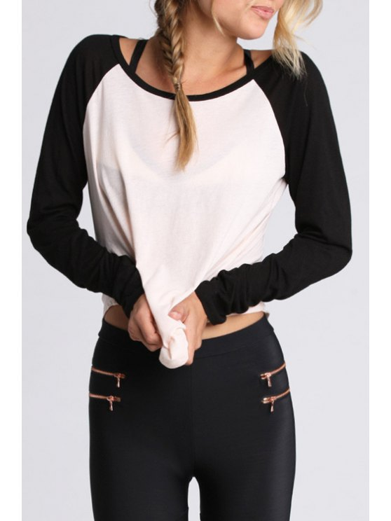 chic Black and White Long Sleeve T-Shirt - WHITE AND BLACK S