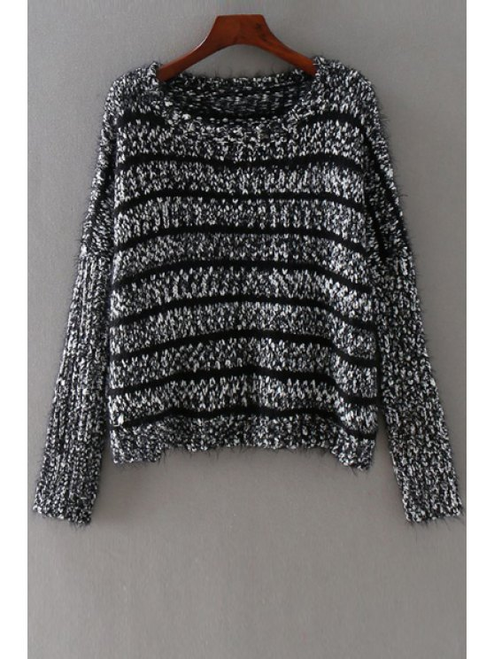 chic Mohair Striped Round Collar Long Sleeves Sweater - BLACK ONE SIZE(FIT SIZE XS TO M)
