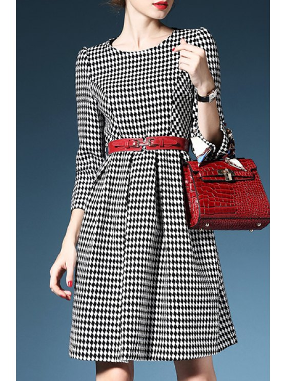 affordable 3/4 Sleeve Plaid Wool Dress With Belt - BLACK AND WHITE S