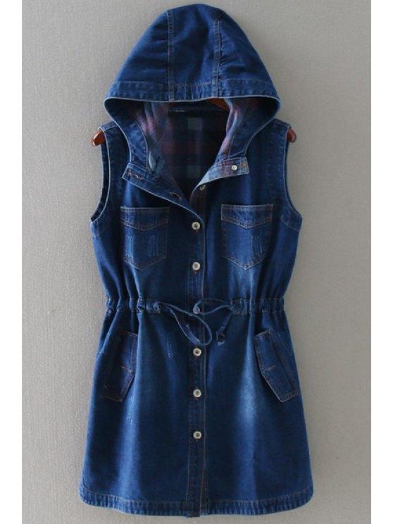 buy Drawstring Hooded Neck Solid Color Denim Waistcoat - BLUE M