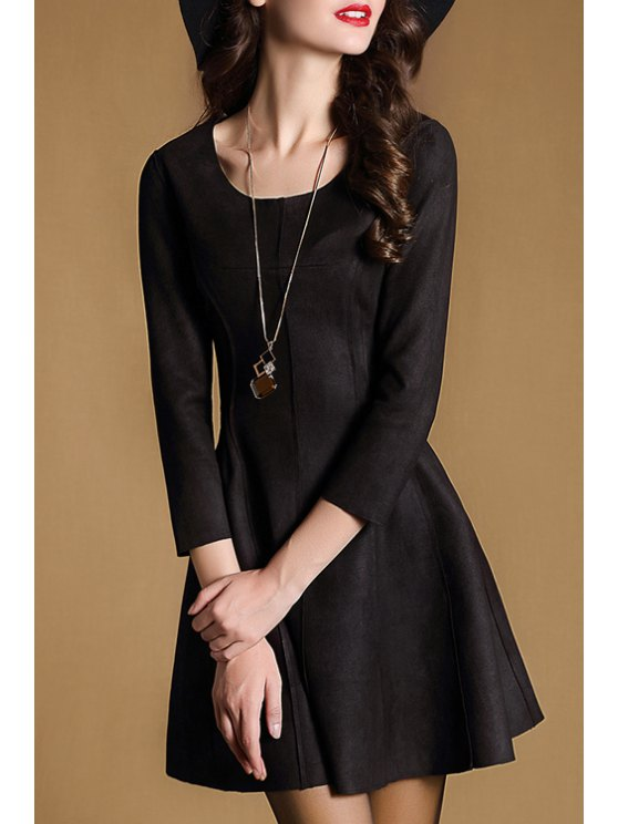 hot 3/4 Sleeve Fit and Flare Suede Dress - BLACK S