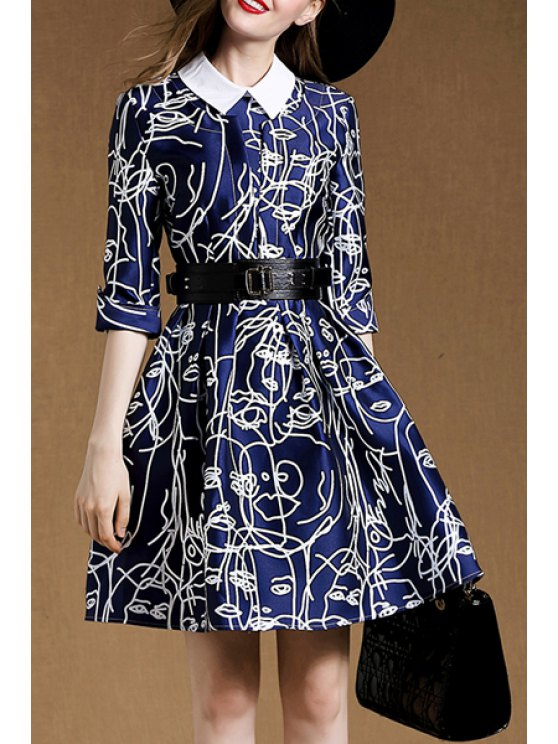 chic Belted A-Line Blue Dress - BLUE S