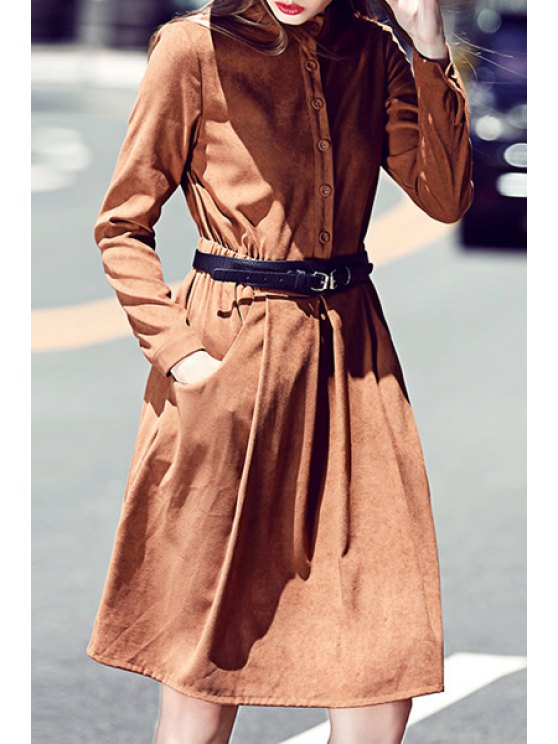 shop Long Sleeve Fit and Flare Suede Dress - BROWN S