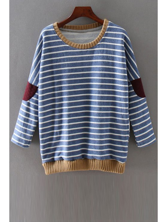fancy Striped Applique Patch Round Neck Long Sleeves Sweatshirt - BLUE ONE SIZE(FIT SIZE XS TO M)