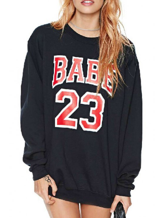 shop Red Number Print Long Sleeve Sweatshirt - BLACK S