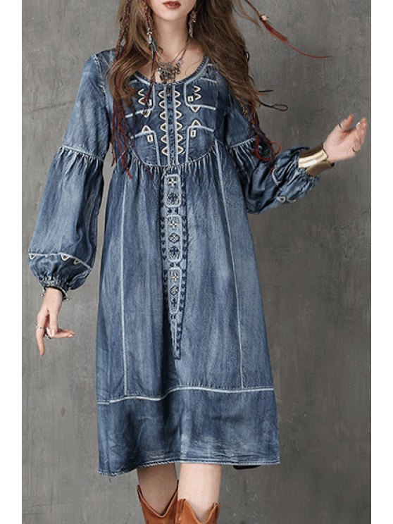 best Bleach Wash Embroidered Denim Dress - AS THE PICTURE M