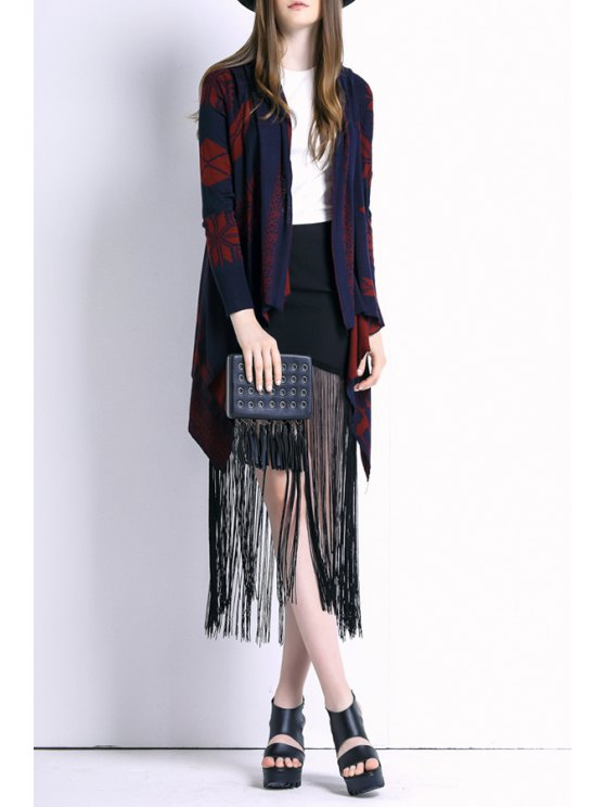 fashion Red Geometric Pattern Long Sleeve Cardigan - BLUE AND RED ONE SIZE(FIT SIZE XS TO M)