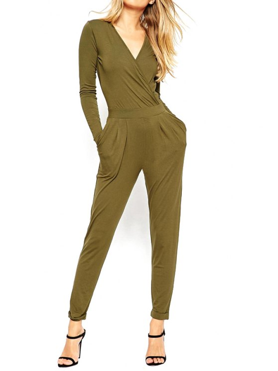 best Open Back V Neck Long Sleeve Jumpsuit - ARMY GREEN S