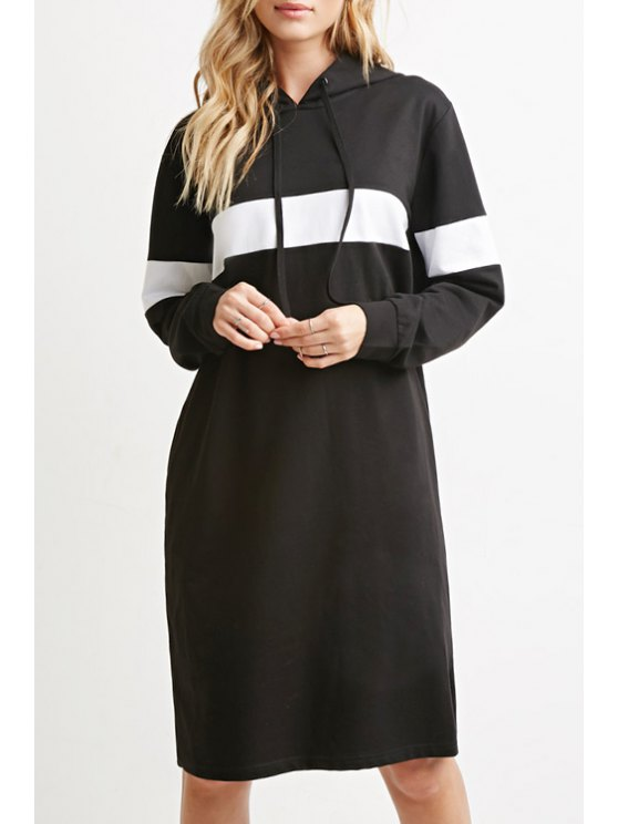 outfits Black and White Hooded Long Sleeve Dress - BLACK S