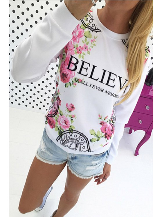 hot Round Neck Floral Letter Print Sweatshirt - WHITE S