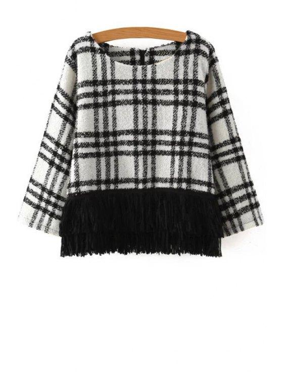 chic Plaid Fringe Long Sleeve Sweater - WHITE S