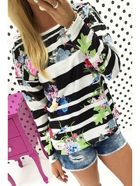 chic Floral Print Striped Sweatshirt - BLACK S