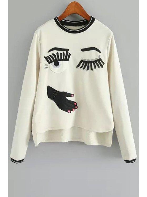 online Eye Pattern Round Neck Long Sleeve Sweatshirt - WHITE ONE SIZE(FIT SIZE XS TO M)