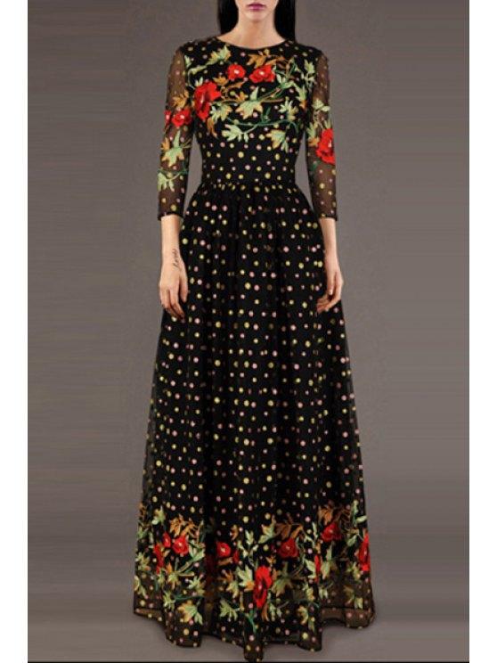 affordable Polka Dot Floral Embroidered Prom Dress - BLACK S