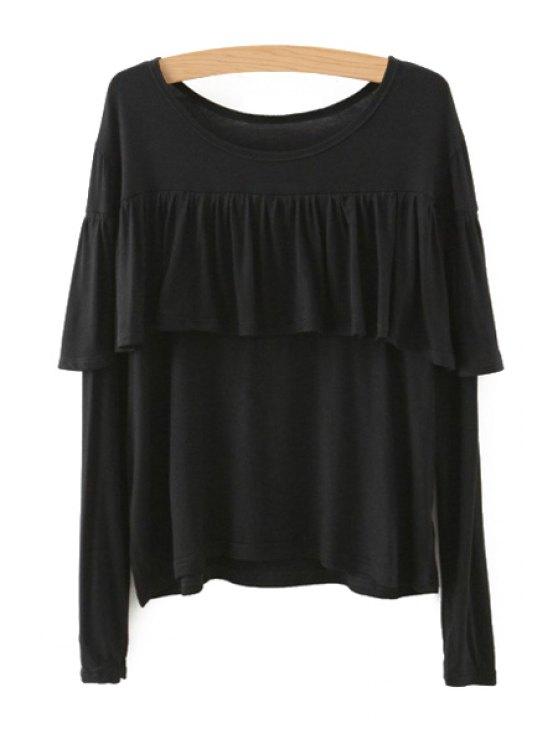 womens Tassels Spliced Long Sleeve T-Shirt - BLACK L